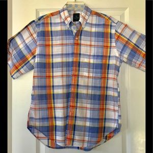 Tailorbyrd short sleeve plaid button down w logo
